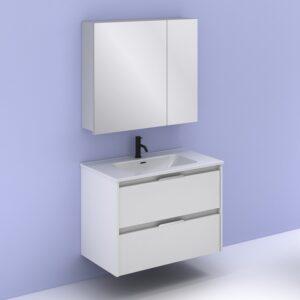 Mueble de baño SUKI 80 cm con 2 cajones blanco brillo con espejo MIDORI AMIZUVA