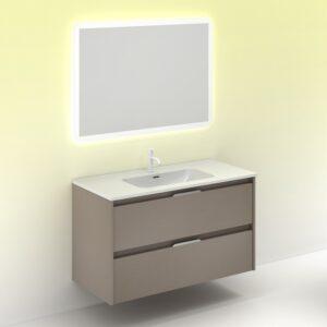 Mueble de baño SUKI 100 cms con 2 cajones fumé arenado con Espejo HOSHI AMIZUVA