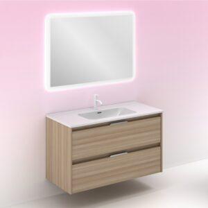Mueble de baño SUKI 100 cms con 2 cajones nogal arenado con espejo HOSHI AMIZUVA