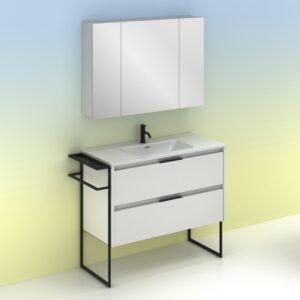 Mueble de baño KEIKO 100 cm con 2 cajones blanco brillo con espejo MIDORI AMIZUVA