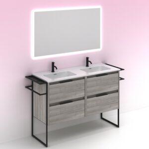 Mueble de baño KEIKO 120 cm con 4 cajones gris arenado con espejo HOSHI AMIZUVA