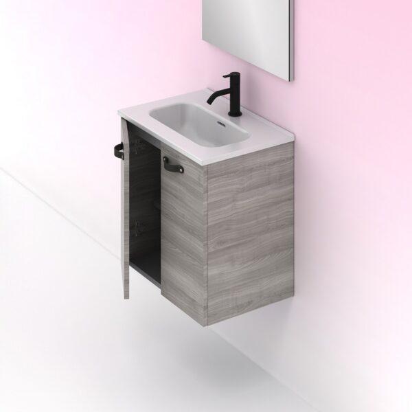 Mueble de baño ANEKO Ancho 50 cm. 2 puertas Fondo 35 cm. gris arenado AMIZUVA