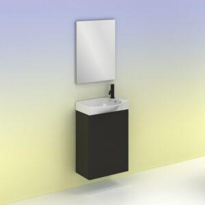 Mueble de baño MIKA Ancho 45 cm. 1 puerta. Fondo reducido 25 cm. Antracita brillo AMIZUVA