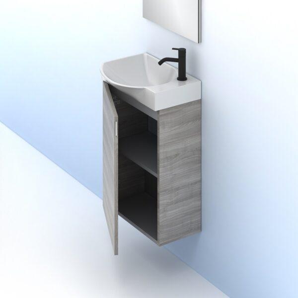 Mueble de baño MIKA Ancho 45 cm. 1 puerta. Fondo reducido 25 gris arenado AMIZUVA